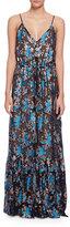 Lanvin Sleeveless Floral Jacquard Lamé; Gown, Turquoise