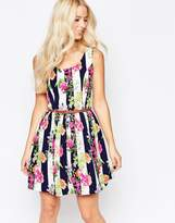 Iska Belted Skater Dress in Floral Stripe Print