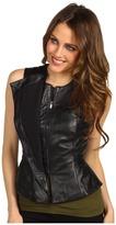 BCBGMAXAZRIA Liu Leather Vest (Black) - Apparel