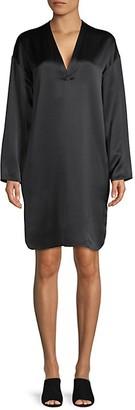 Vince Silk Long Sleeve Shift Dress