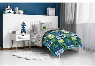 Minecraft Green/Blue Collage Kids Bed-in-a-Bag Bedding Set w/ Reversible Comforter