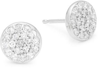 Saks Fifth Avenue White Gold & Diamond Circle Stud Earrings