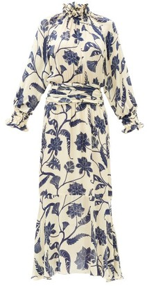 Johanna Ortiz Sacred Writing Floral-print Silk Midi Dress - Blue White