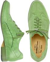 Pakerson Pistachio Green Italian Handmade Leather Lace-up Shoes