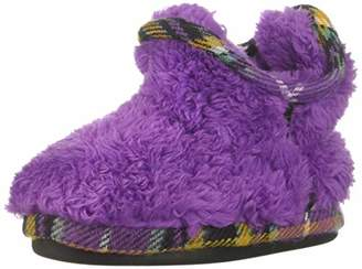Dearfoams Girls Pile Bootie with Mixed Material Trim Slipper