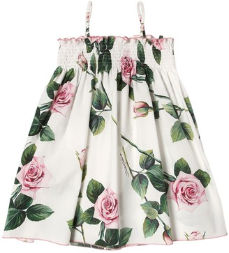 Dolce & Gabbana Rose Print Cotton Poplin Dress
