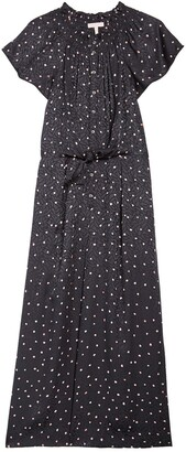 Rebecca Taylor Sleeveless Paint Dot Print Silk Blend Maxi Dress
