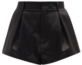 Saint Laurent Pleated Cotton-blend Satin Shorts - Black