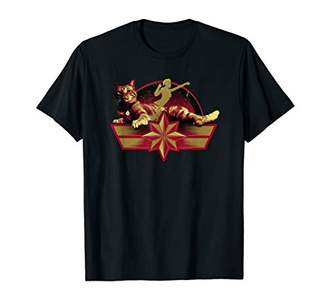 Marvel Captain Star Symbol and Goose the Cat T-Shirt