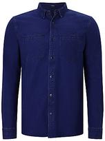 Denham Edged Cotton Shirt, Indigo