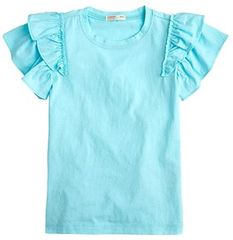 crewcuts by J.Crew Ruffle Sleeve Top (Toddler/Little Kids/Big Kids) (Ivory/Blue) Girl's Clothing