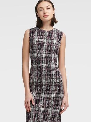 DKNY Checked Sheath Dress With Asymmetrical Placket