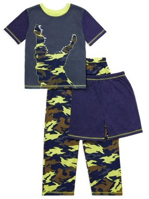 Saint Eve Boys Short Sleeve, Long Pant and Short, 3-Piece Pajama Set Sizes 4-16