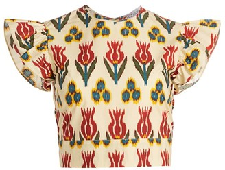 RED Valentino Ikat Tulip Cropped Top