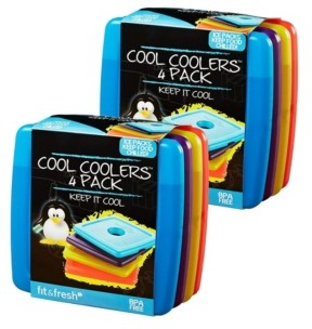 Fit & Fresh Cool Coolers Slim Reusable Ice Packs for Lunch Boxes, Lunch Bags and Coolers, Set of 8