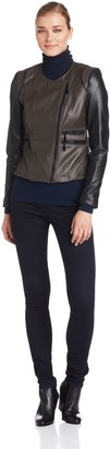Vince Camuto Women's Two-Tone Moto Leather Jacket