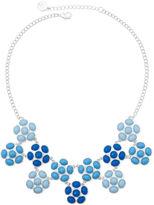 Liz Claiborne Blue Stone Silver-Tone Flower Statement Necklace