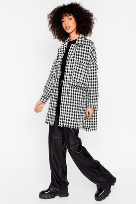 Nasty Gal Womens We Knew Tweed Win Oversized Shirt Jacket - Black