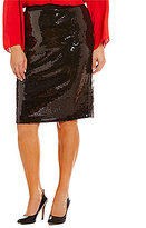 Vince Camuto Plus Sequin Midi Pencil Skirt
