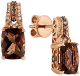 LeVian Le Vian Chocolatier® Smoky Quartz (3-3/8 ct. t.w.) and Diamond (1/6 ct. t.w.) Drop Earrings in 14k Rose Gold