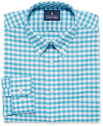 STAFFORD Stafford Travel Wrinkle Free Stretch Oxford Big And Tall Mens Button Down Collar Long Sleeve Wrinkle Free Stretch Dress Shirt