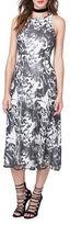 Rachel Roy Sequin Lace High Neck Midi A-Line Dress