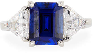 FANTASIA Synthetic Sapphire Emerald-Cut Ring, Size 6-8