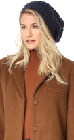 Adrienne Landau Cable Knit Slouch Hat with Fur Pom