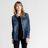 DSTLD Womens Denim Snap Button Down Shirt in Dark Vintage