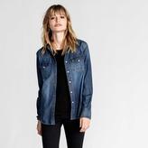 DSTLD Womens Snap Denim Button Down Shirt in Light Vintage