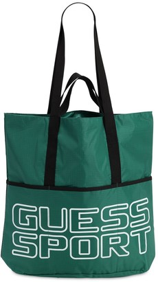 GUESS Logo Printed Nylon Tote Bag
