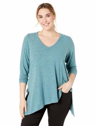 Karen Kane Women's Plus Size Asymmetric V-Neck TOP
