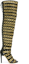 Casadei chain print thigh-high boots
