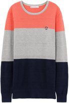 Meters/bonwe Men's Casual Round Neck Color Block Pullover Knitted Sweater, XXL