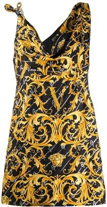 Versace Barocco Signature print asymmetric dress