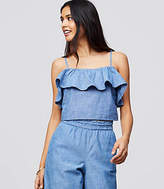 LOFT Beach Chambray Ruffle Cropped Top