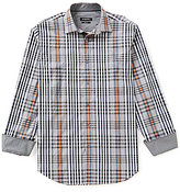 Bugatchi Long-Sleeve Plaid Woven Shirt