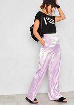 Missy Empire Drew Lilac Wide Leg Satin Trousers