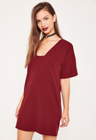 Missguided Burgundy Square Neck A Line Dress