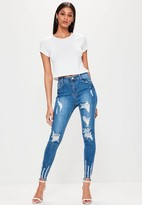 Missguided Blue High Waisted Chewed Hem Skinny Jeans, Blue
