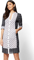 New York & Co. Mixed-Print Shirtdress