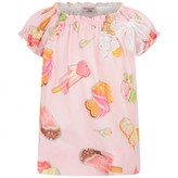 MonnaLisa MonnalisaBaby Girls Pink Sweet Treats Print Blouse