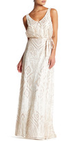Marina Double V Ribbon Sash Long Dress
