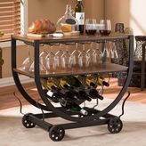 Baxton Studio Triesta Wheeled Wine Rack Cart