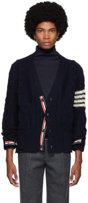 Thom Browne Navy Aran Cable Knit 4-Bar Cardigan