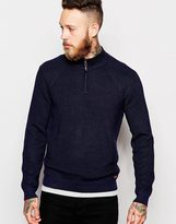 Ted Baker Knitted Jumper With Zip Neck - Blue