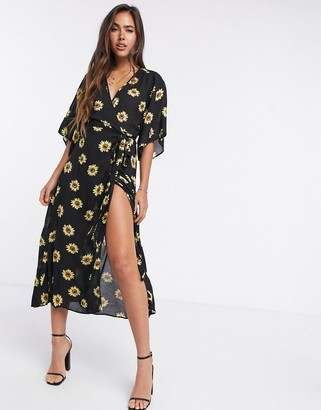 Liquorish kimono sleeve midi dress in sunflower print