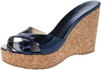 Jimmy Choo Metallic Blue Leather Prima Cork Wedge Platfrom Sandals Size 38