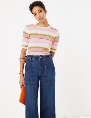 Marks and Spencer Striped Ribbed Short Sleeve Top