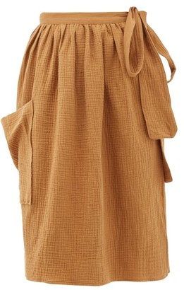 Loup Charmant Tofo Patch-pocket Cotton-gauze Wrap Skirt - Tan